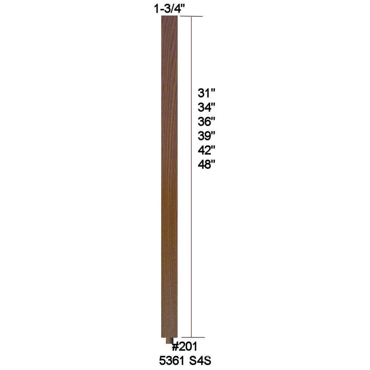 """5361 (201) 1-3/4"""" x 48"""" S4S Baluster with Dowel Pin shipped loose"""