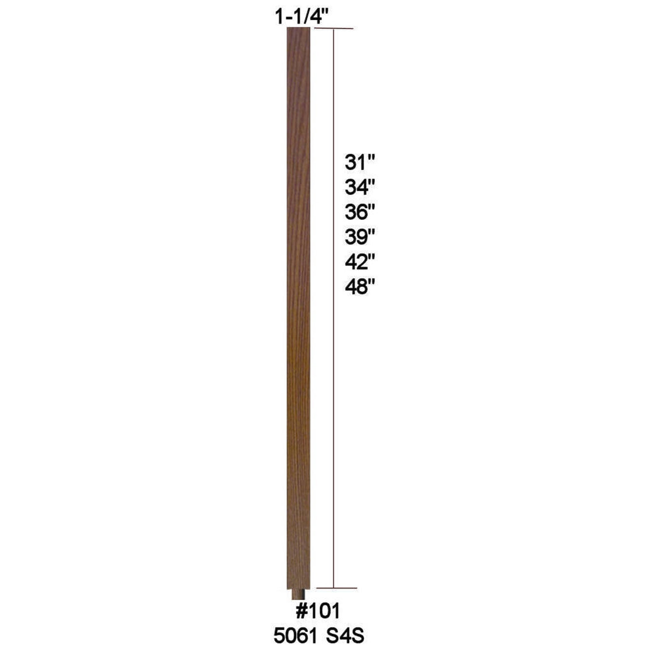 """5060 (101) 1-1/4"""" S4S 48"""" Baluster, with dowel pin shipped separate"""