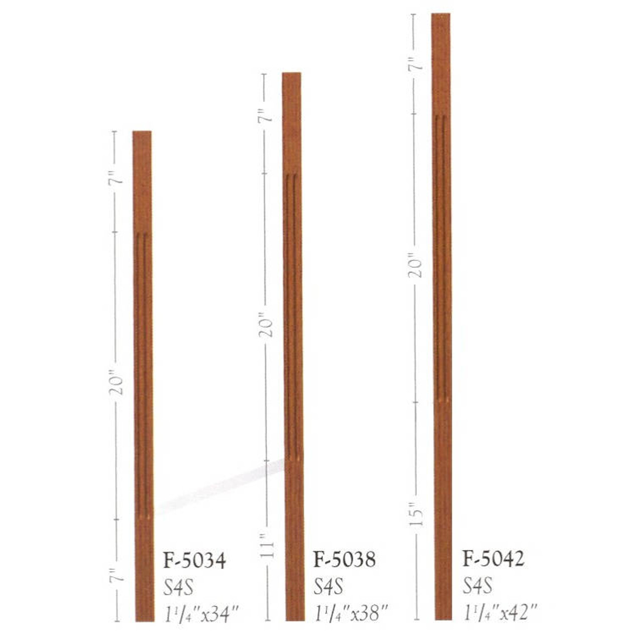 "F-5038 38"" Fluted S4S Contemporary Baluster Set"