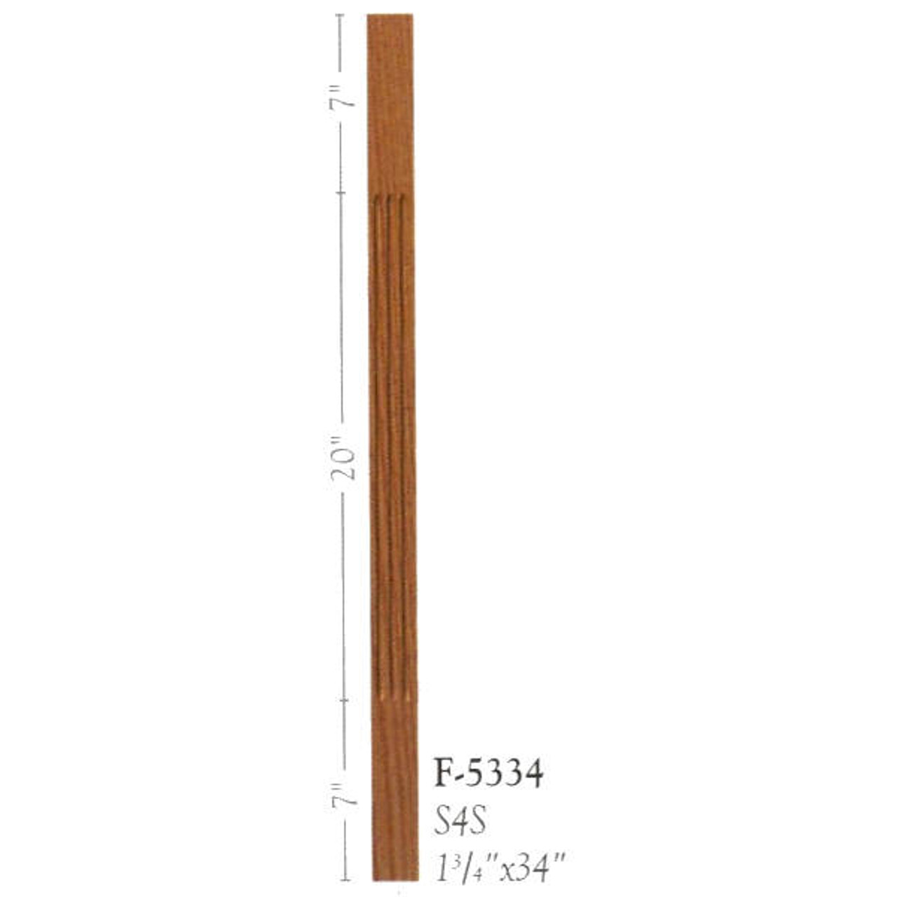 """F-5334 34"""" Fluted S4S Baluster"""