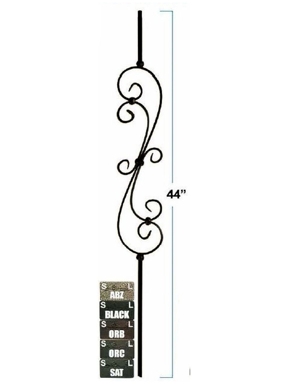 2581 Skinny S-Scroll, Solid Wrought Iron, 5-1/2-inch wide, 12mm