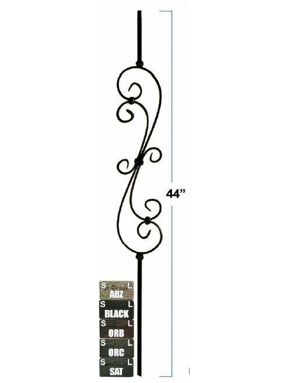 2581-LT Lite Skinny S-Scroll Hollow Tubular Steel Baluster, 12mm