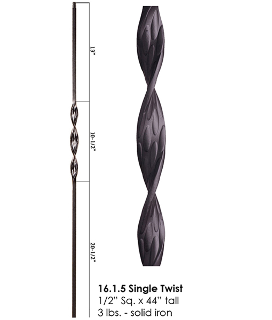 HF16.1.5 Single Ribbon Iron Baluster