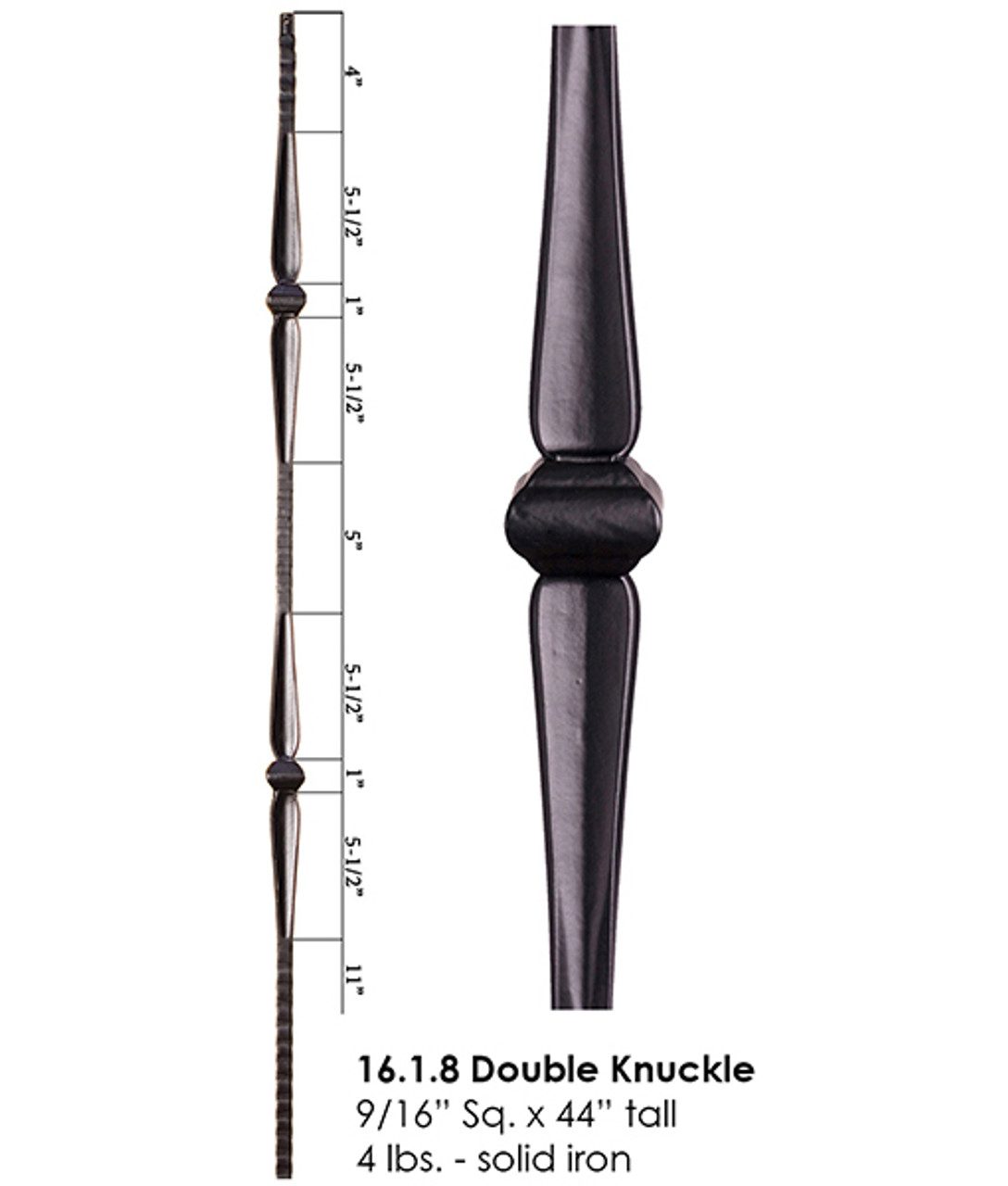 HF16.1.8 Double Knuckle Gothic Hammered Iron Baluster