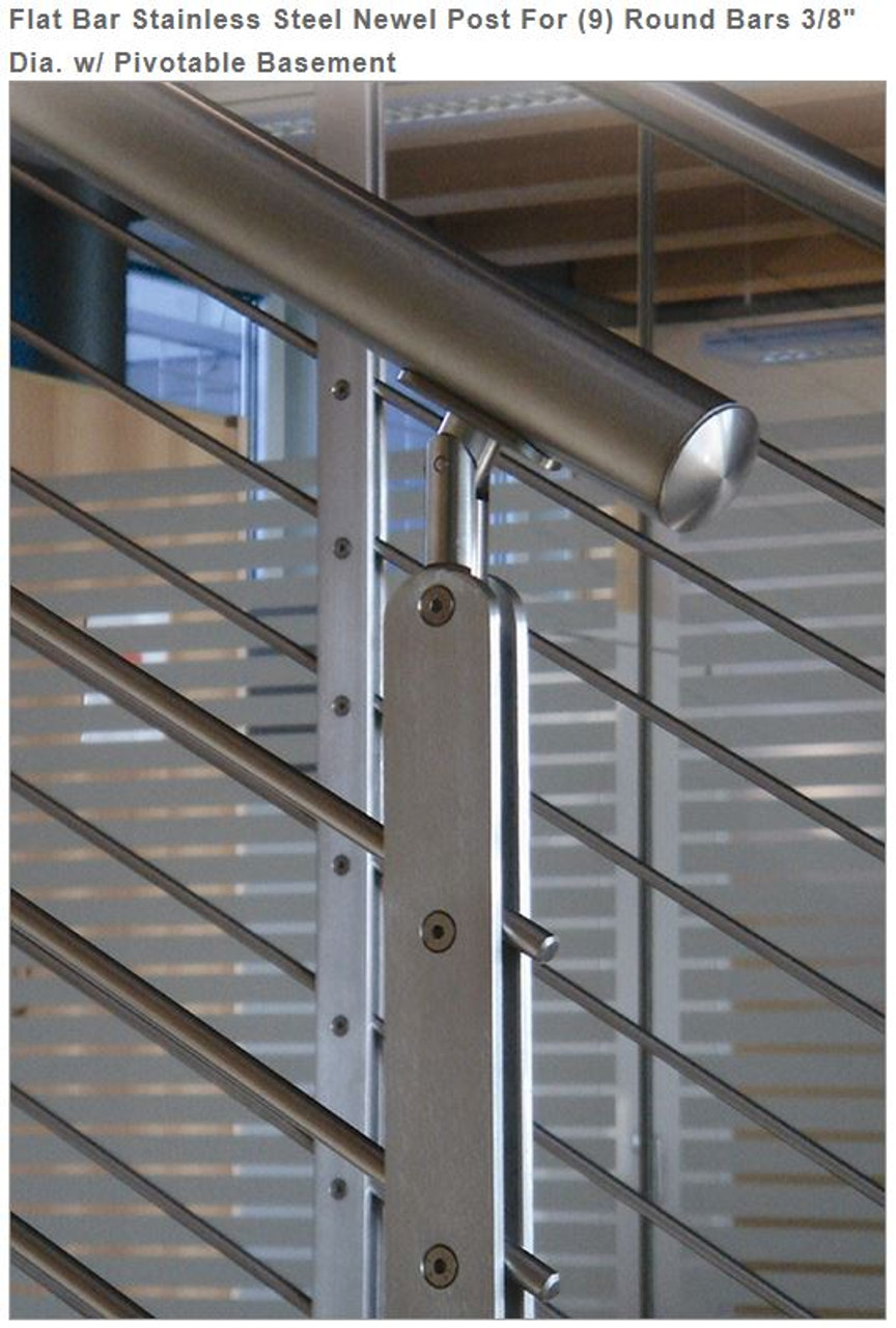 """E00463 Flat Bar Stainless Steel Newel Post for 9 bars, 3/8"""""""