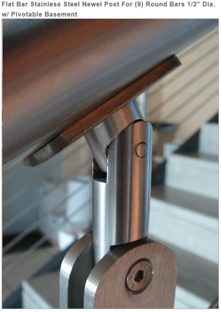 """E00465 Flat Bar Stainless Steel Newel Post, 9 bars, 1/2"""""""