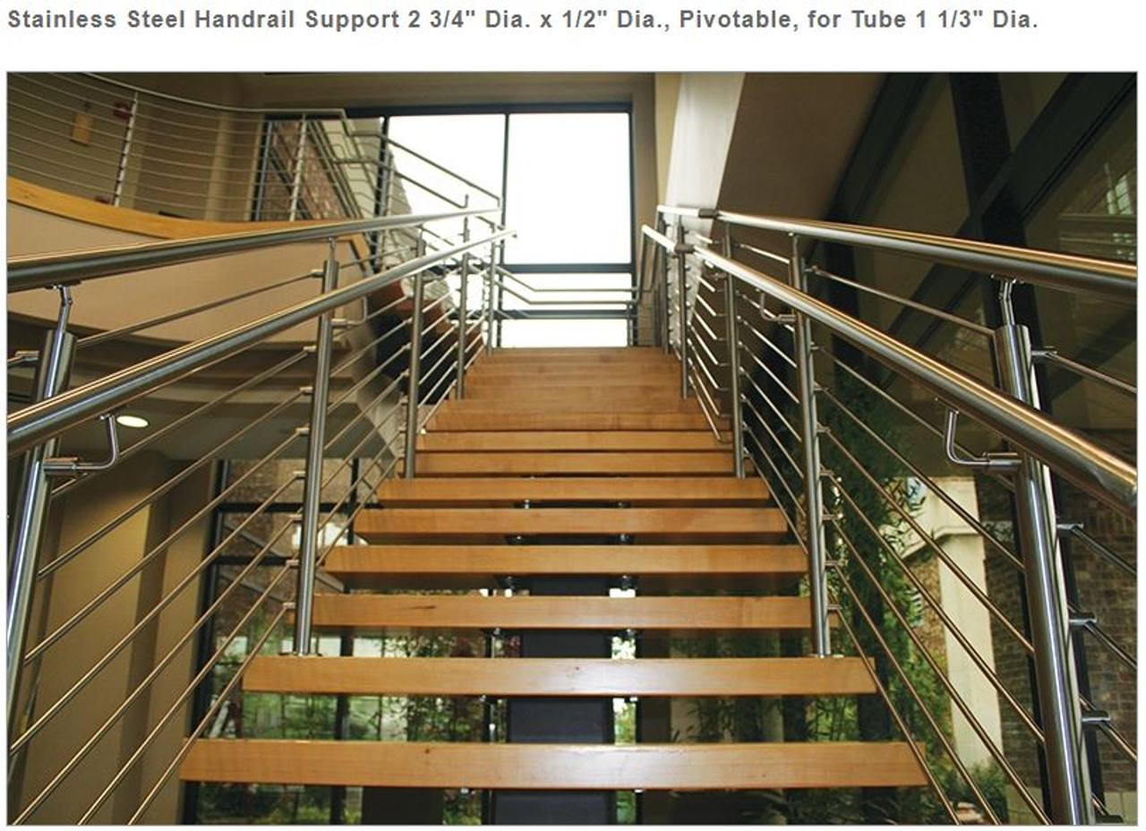 E0224 Stainless Steel Handrail Support, with Screw & Internal Thread M6