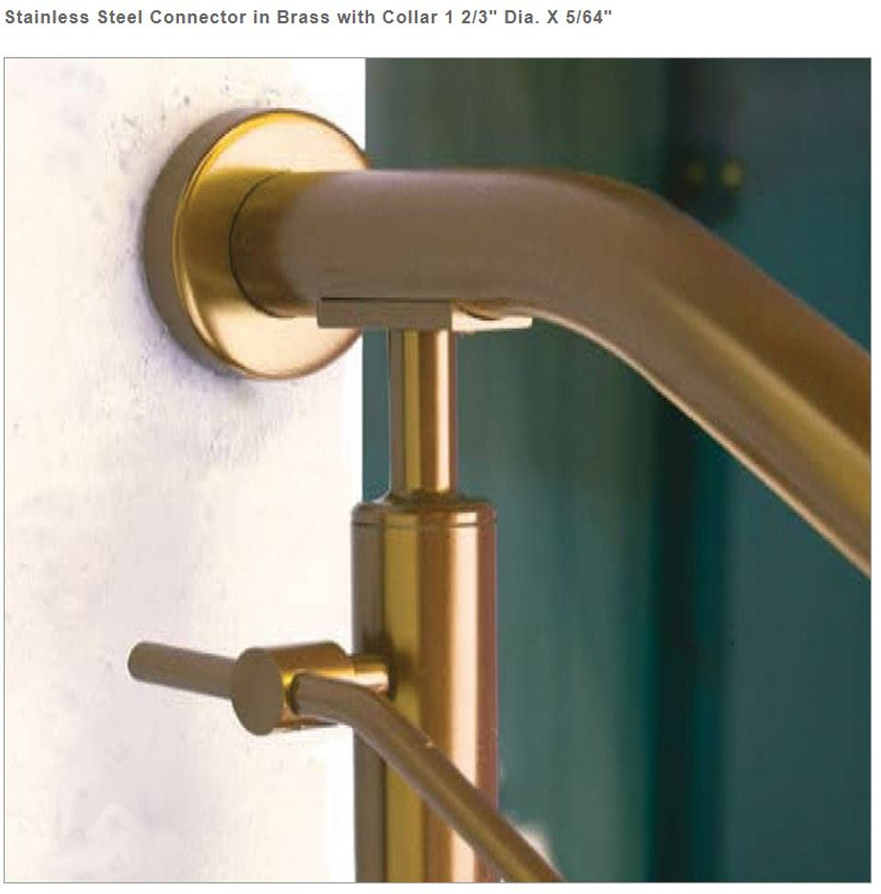 """E024 Stainless Steel Connector, BRASS, 1 2/3"""" Tube"""