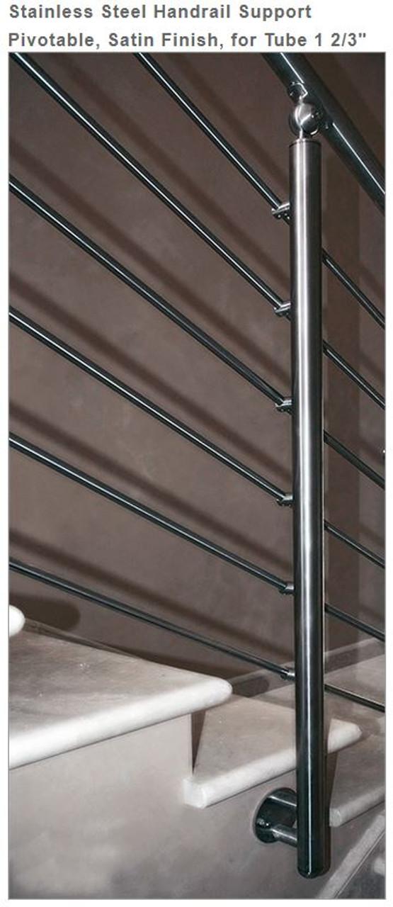E4581 Stainless Steel Handrail Support Pivotable, Satin Finish
