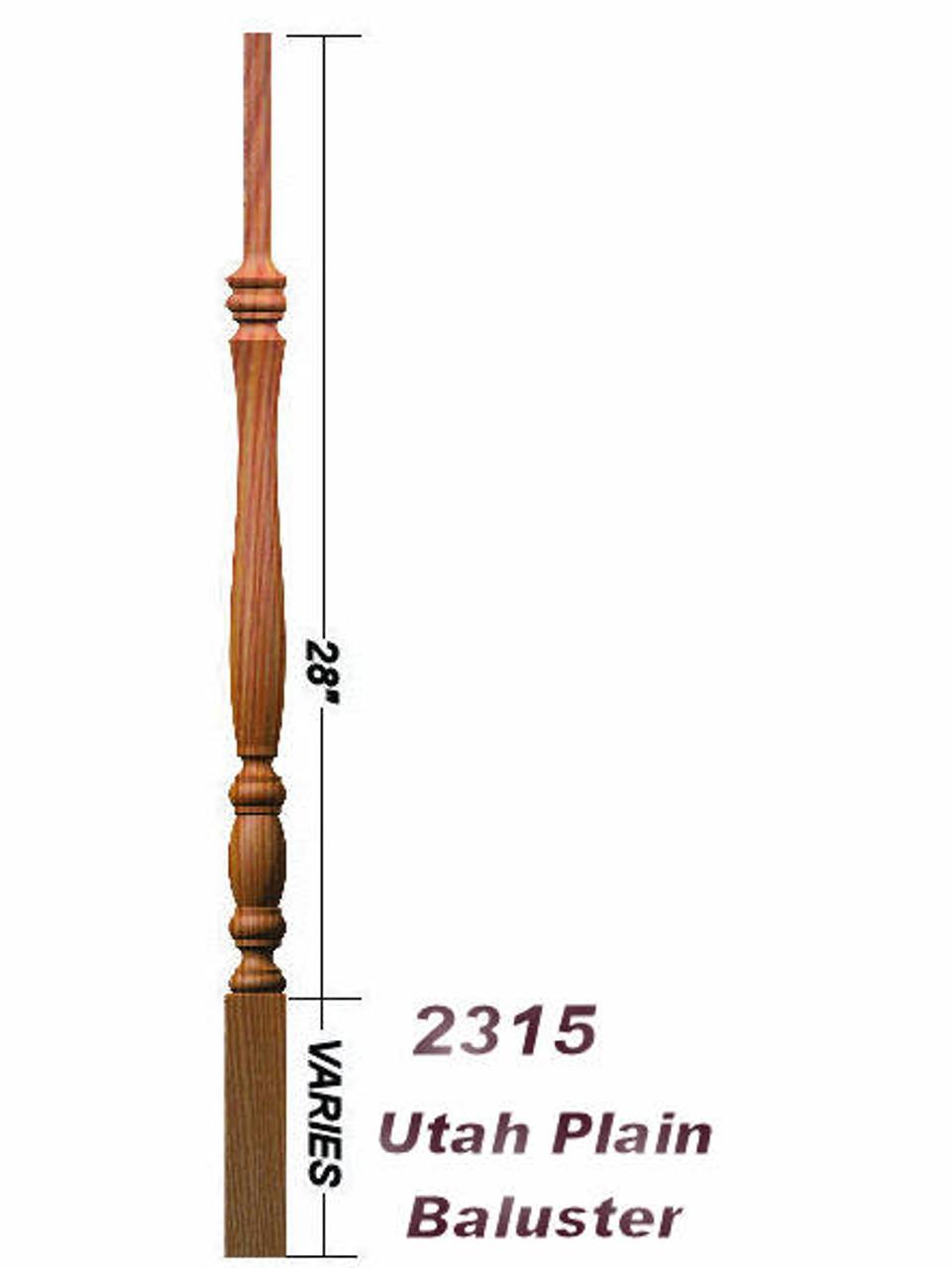"""2315 36"""" Utah Classic Pin Top Baluster Dimensional Information"""