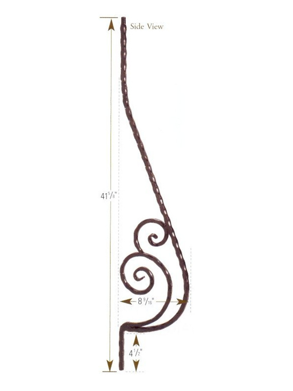 1053 Belly Baluster with Scroll, Black