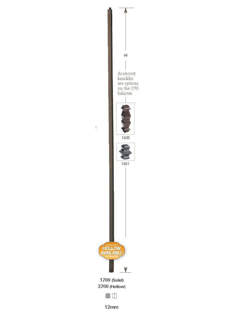 1700 Plain Straight Bar 12mm Iron Baluster