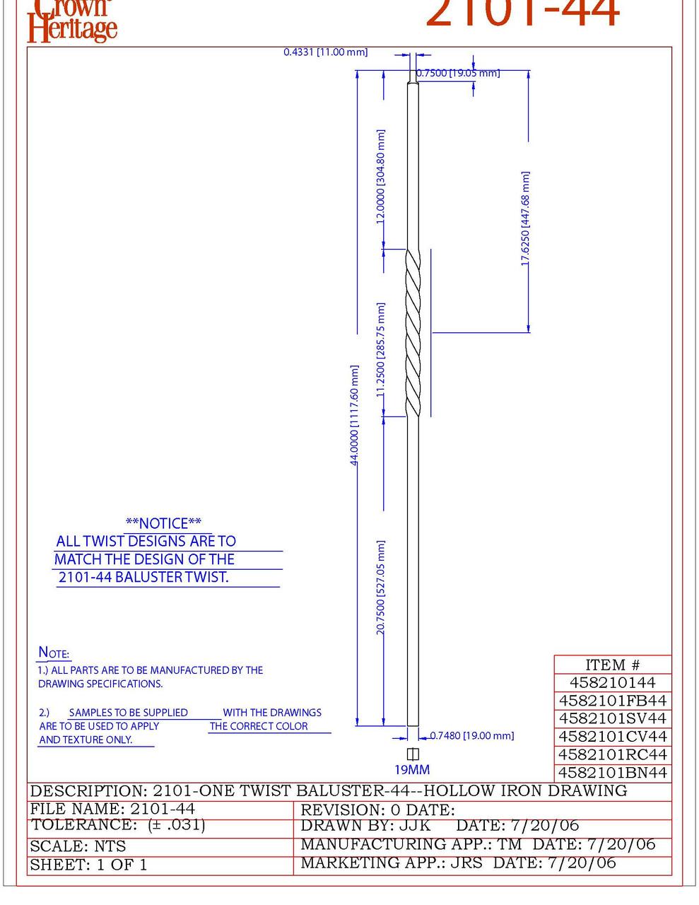 2101 Single Twist CADD Drawing
