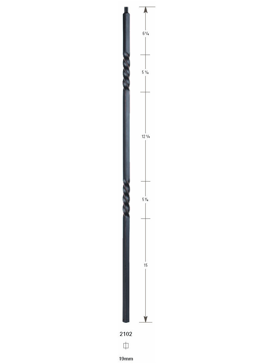 2102 19mm Double Twist Large Hollow Baluster