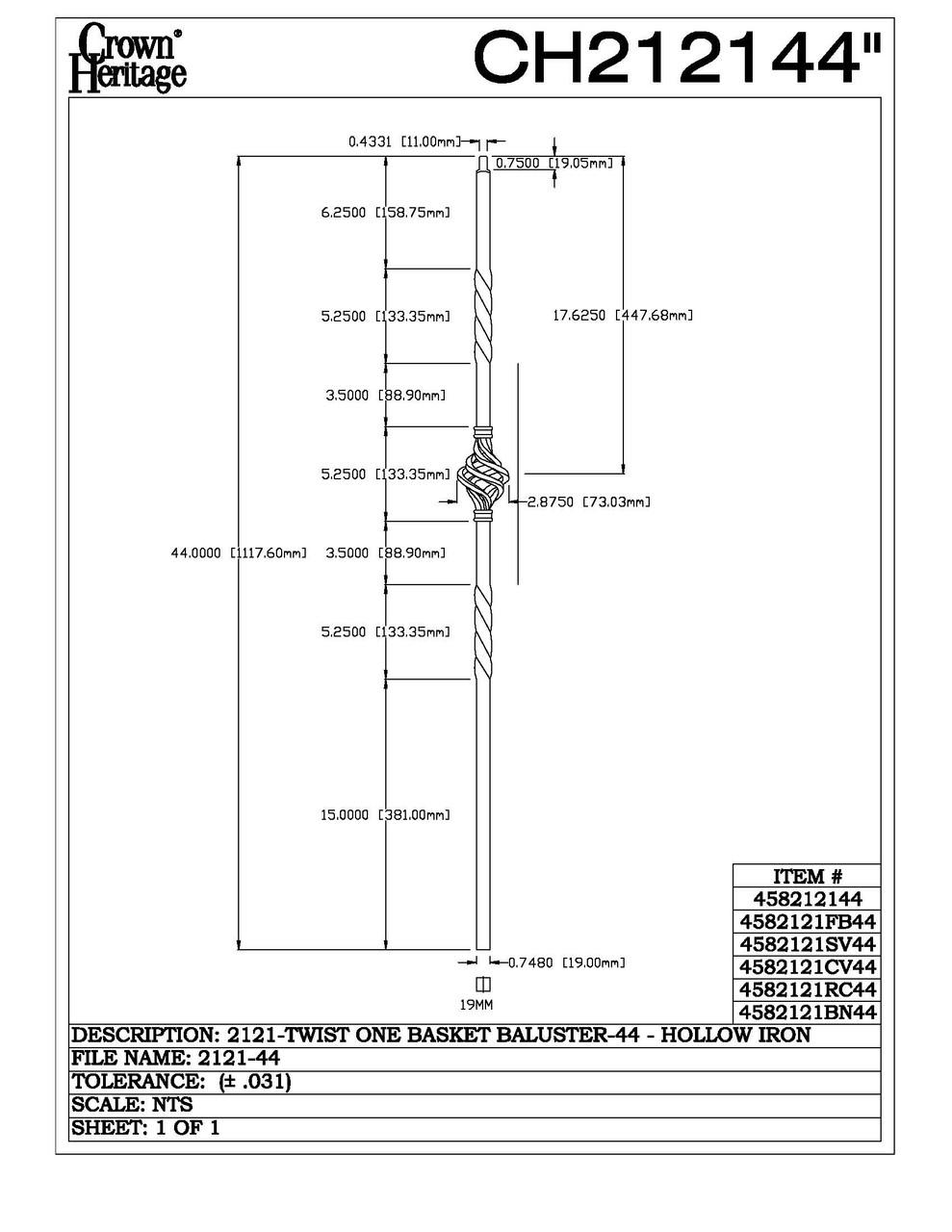 2121 19mm Single Basket Large Hollow Baluster, CADD DRAWING