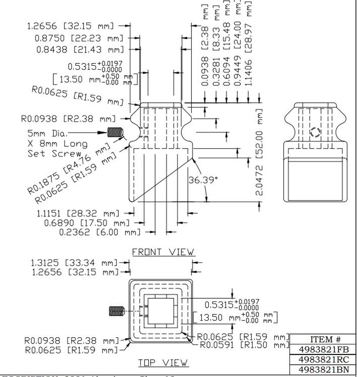 3821 12mm Pitch Shoe, CADD Drawing