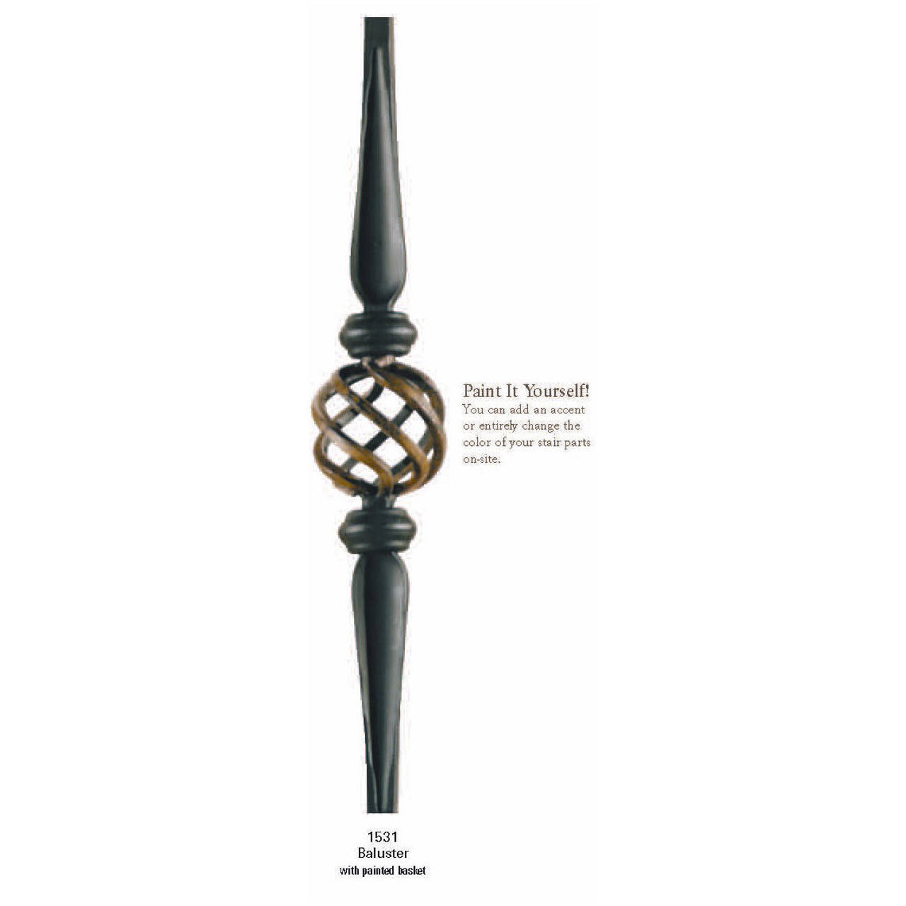 3531 Hollow Hammered Spoon with Basket Iron Baluster Zoomed Image