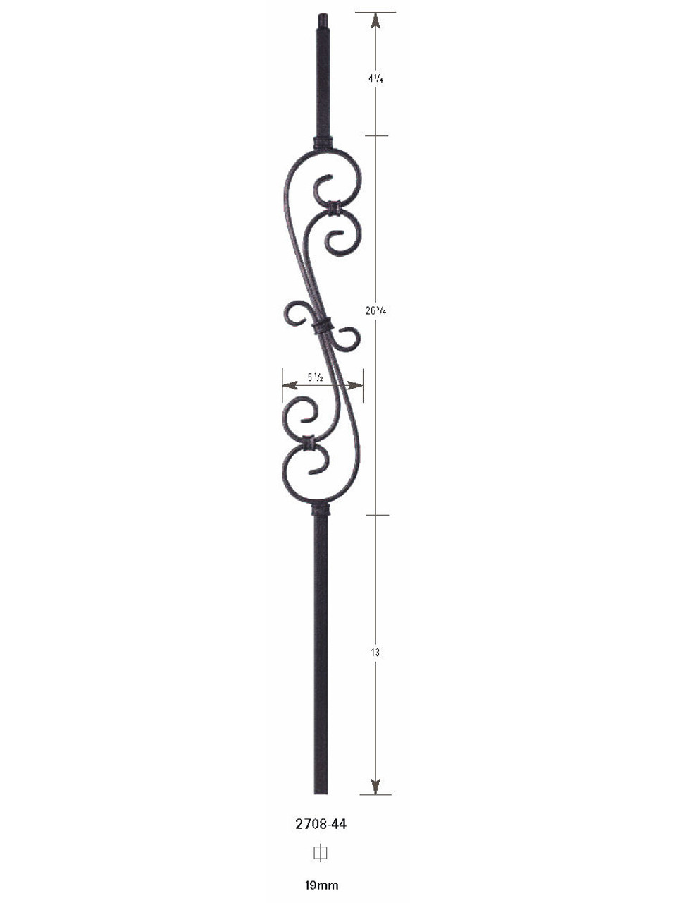 2708 Large 19mm Feathered S-Scroll Hollow Baluster