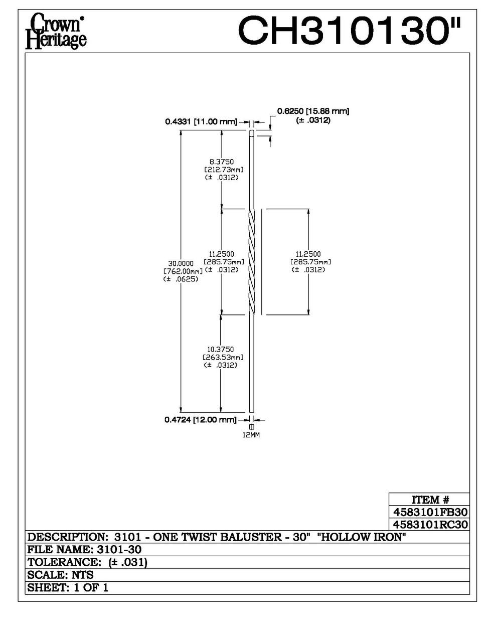 "3101-30 30"" Tubular Steel Single Twist Knee Wall Baluster, CADD DRAWING"
