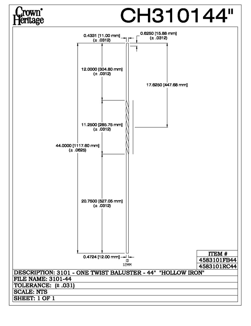 "3101-44 44"" Tubular Steel Single Twist Baluster, CADD DRAWING"