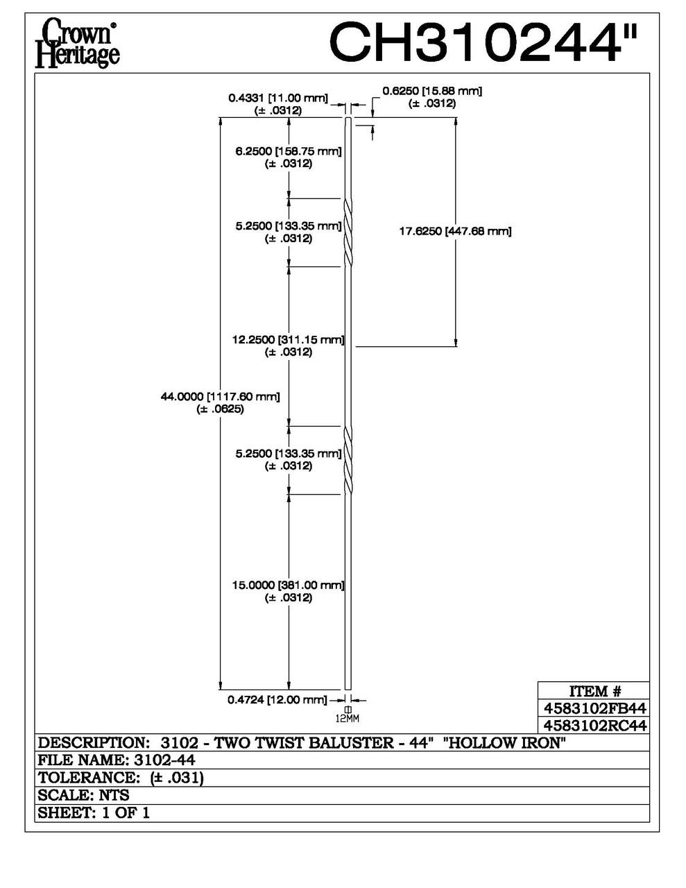 "3102-44 44"" Tubular Steel Double Twist Baluster, CADD DRAWING"