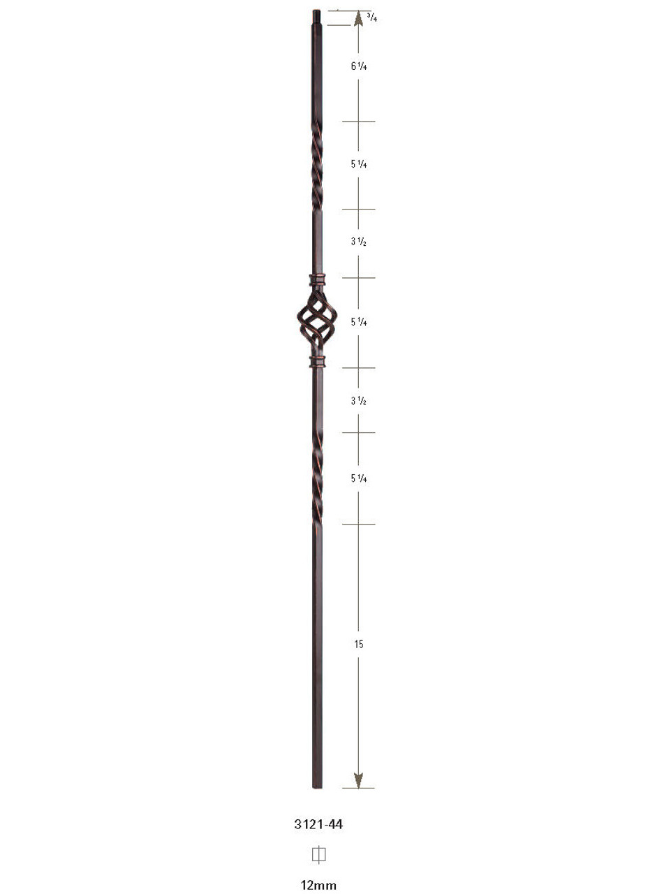 "3121-44 44"" Tubular Steel Single Basket Knee Wall Baluster"