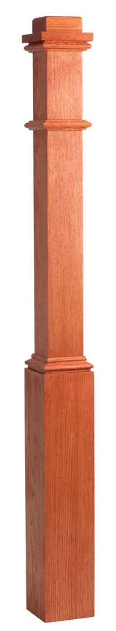 """4076 3-1/2"""" x 58"""" Primed Box Newel Post (Red Oak with Sleeve Pictured)"""