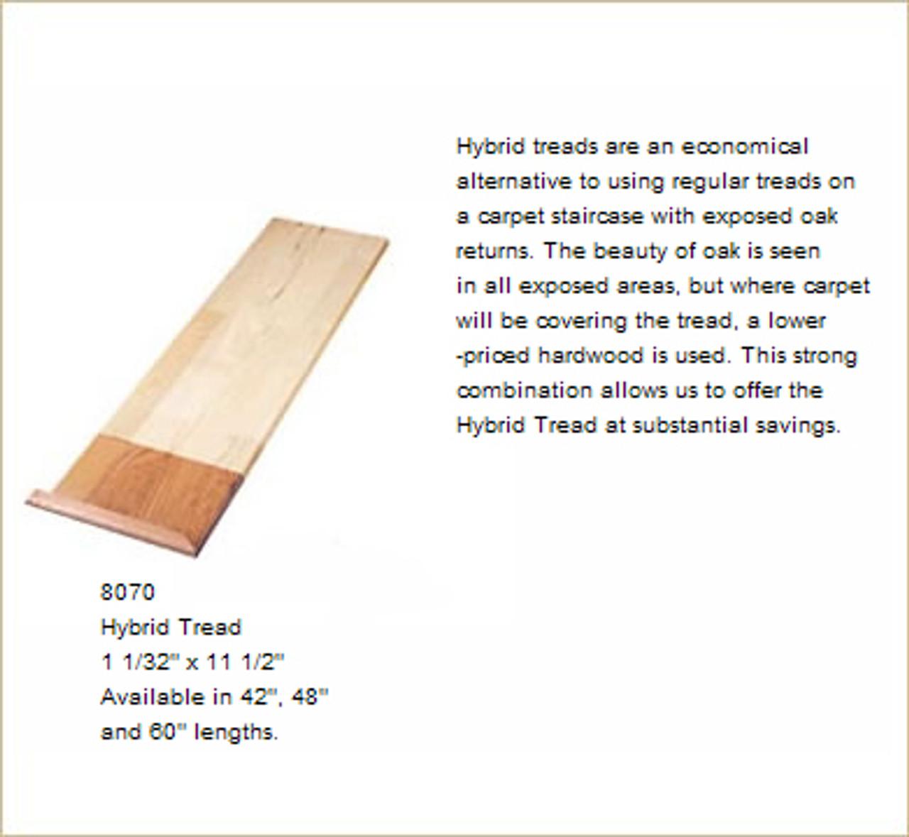 """8070HT 48"""" Red Oak Hybrid Stair Tread"""