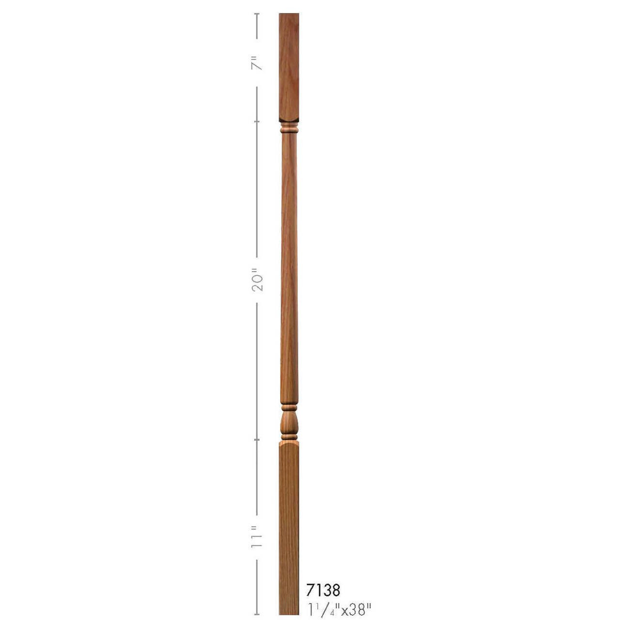 """F-7138 38"""" Fluted Colonial Elegant Rise Baluster  (Plain Balusters Illustrated)"""