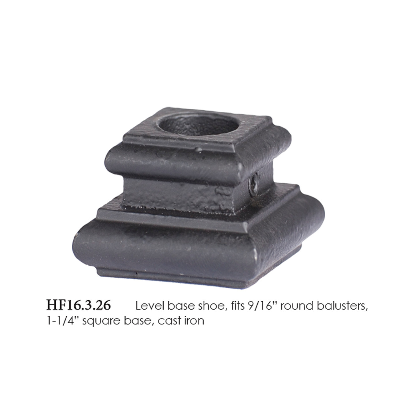 Oil Rubbed Bronze 16.3.20 Flat Base Shoes for 9//16 inch Square Iron Balusters for Stair Remodel Box of 10