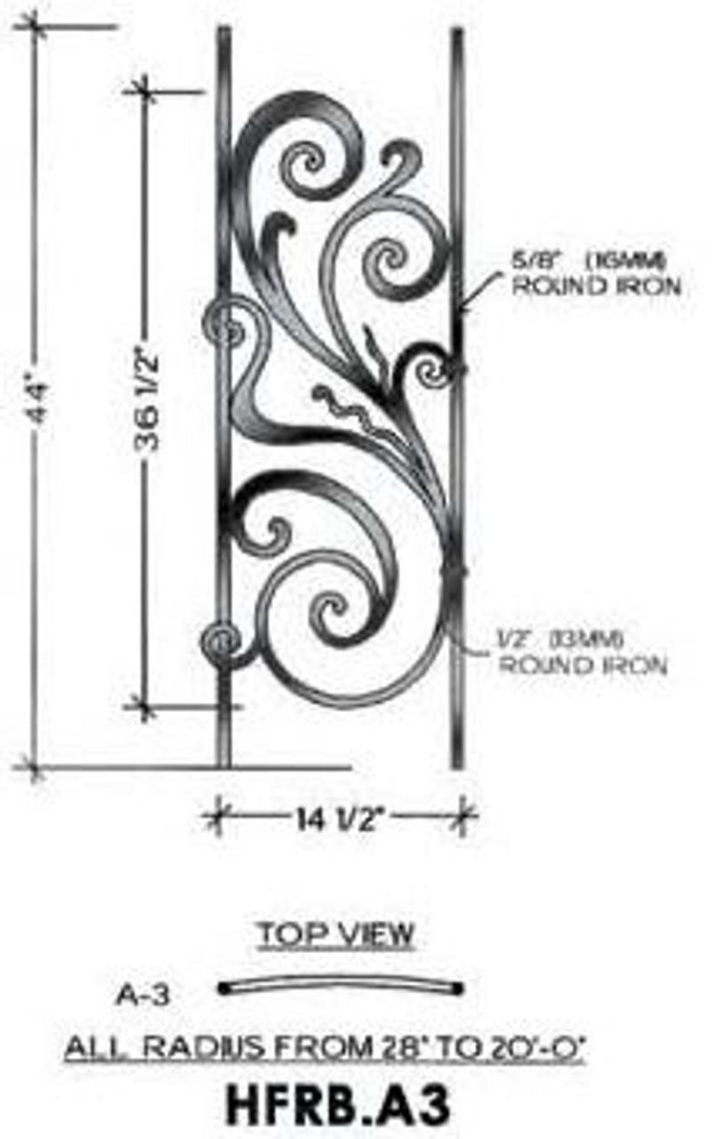 HFRB.A3 Rebecca Radius Balcony Iron Panel