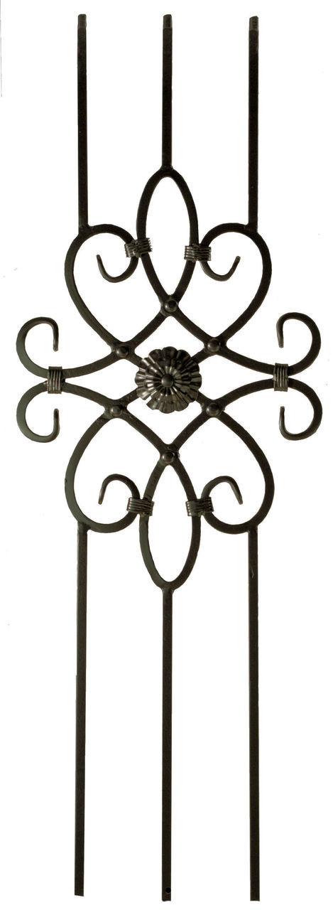 2491 Three-Legged Decorative Panel, Satin Black, 12mm Solid Iron
