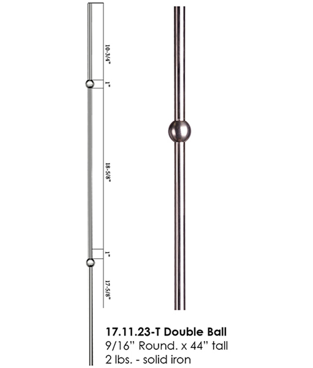 HF17.11.23-T Round Double Knuckle Stainless Steel Baluster