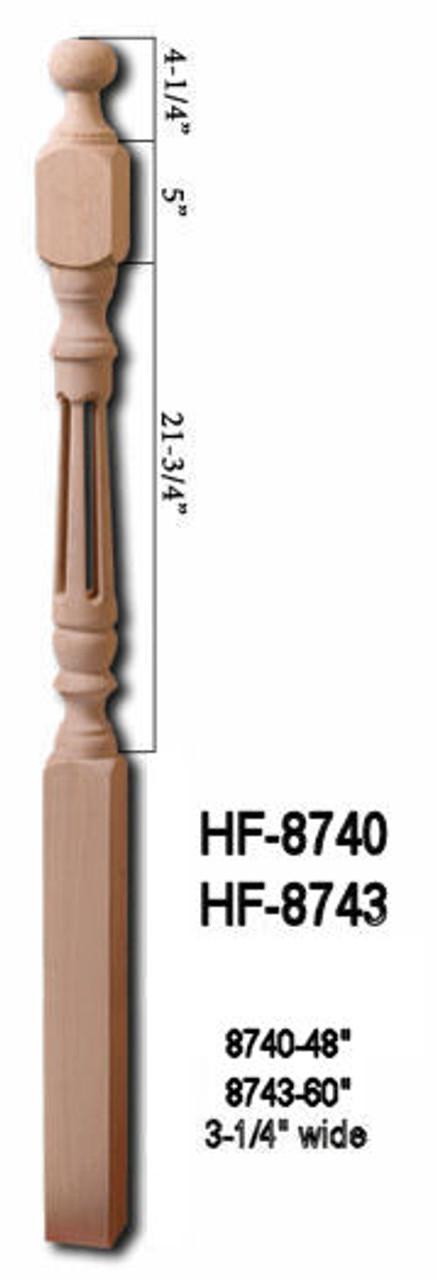"HF-8740 48"" Hollow Fluted Ball Top Newel Post"