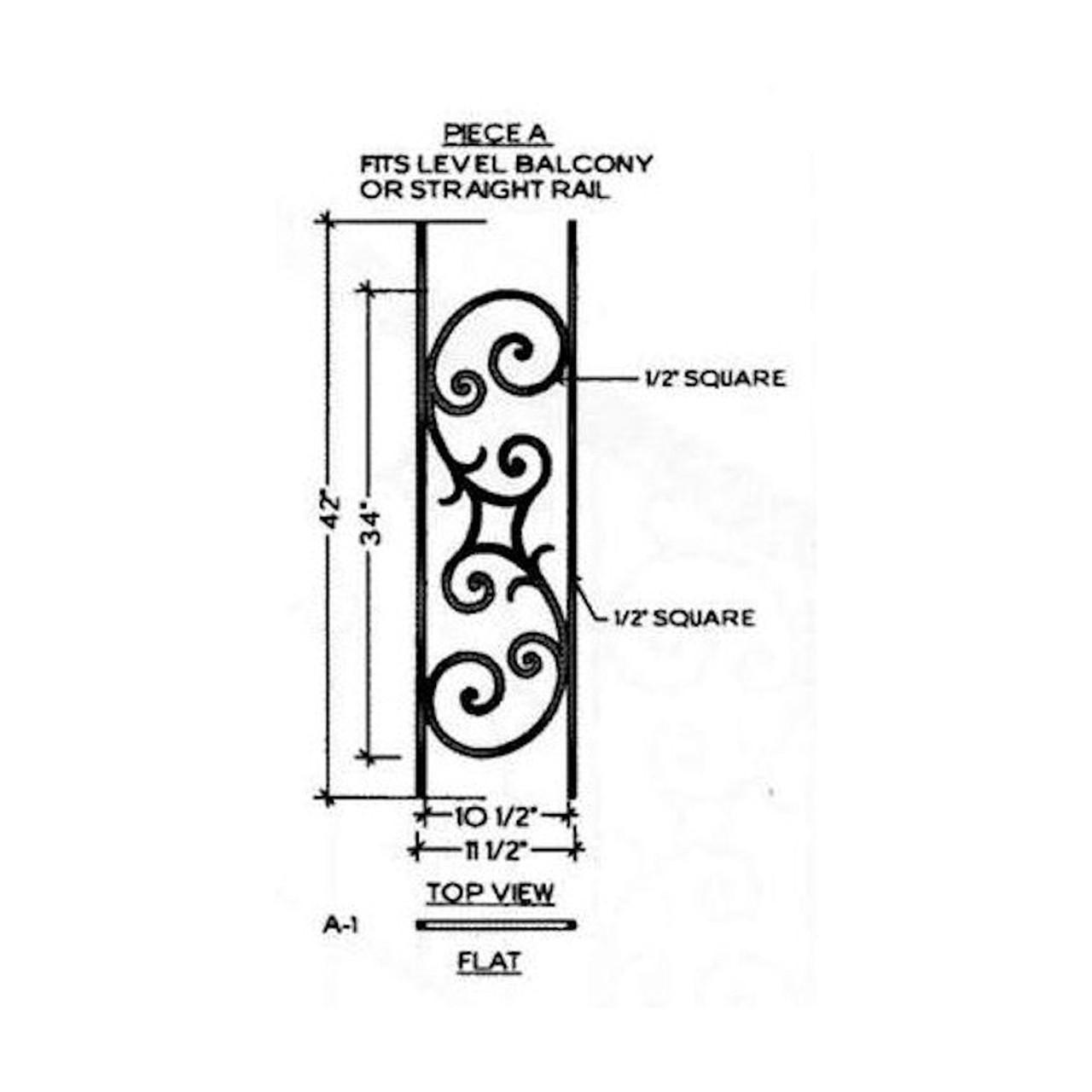 HFSE.A1 Seville Iron Baluster Panel for Level Balcony or Straight balustrade runs