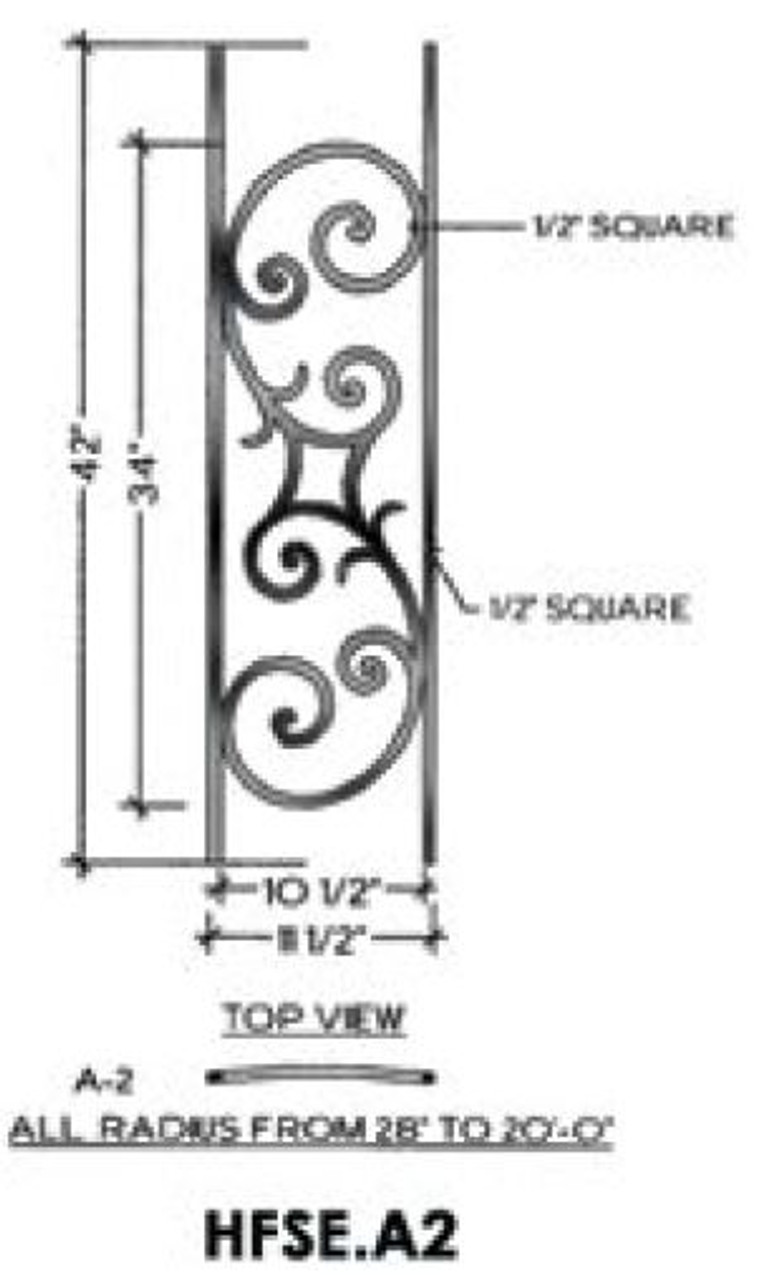 HFSE.A2 Seville Iron Baluster Panel for Curved Balcony balustrade runs