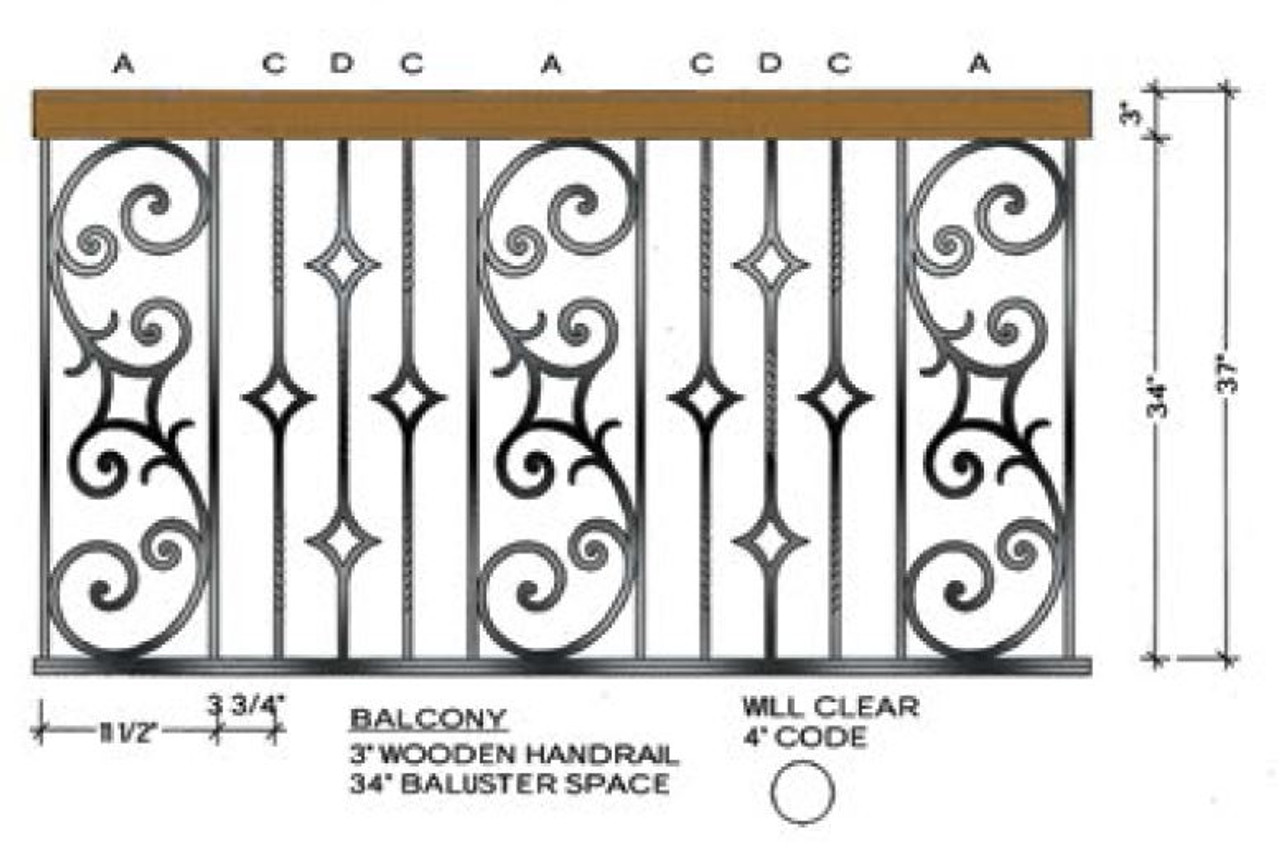 Balcony Rail Example of the Seville Iron Baluster Panels