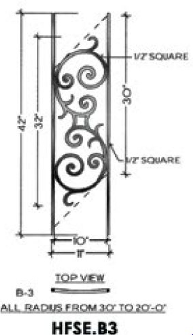 HFSE.B1 Seville Iron Panel for Straight Angled stairs with a pitch up to 48-degrees
