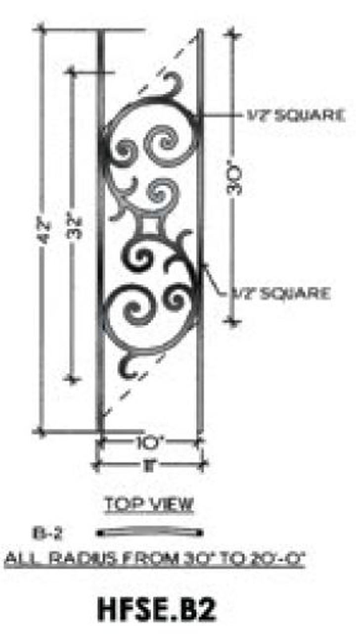 HFSE.B2 Seville Iron Panel for Angled radius stairs