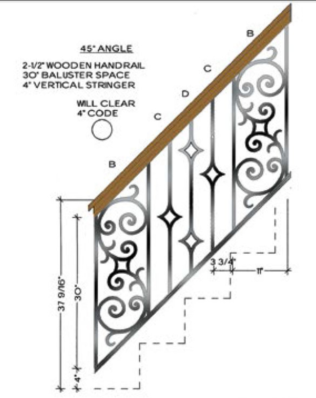 45-degree Angled stair with Seville Balustrade