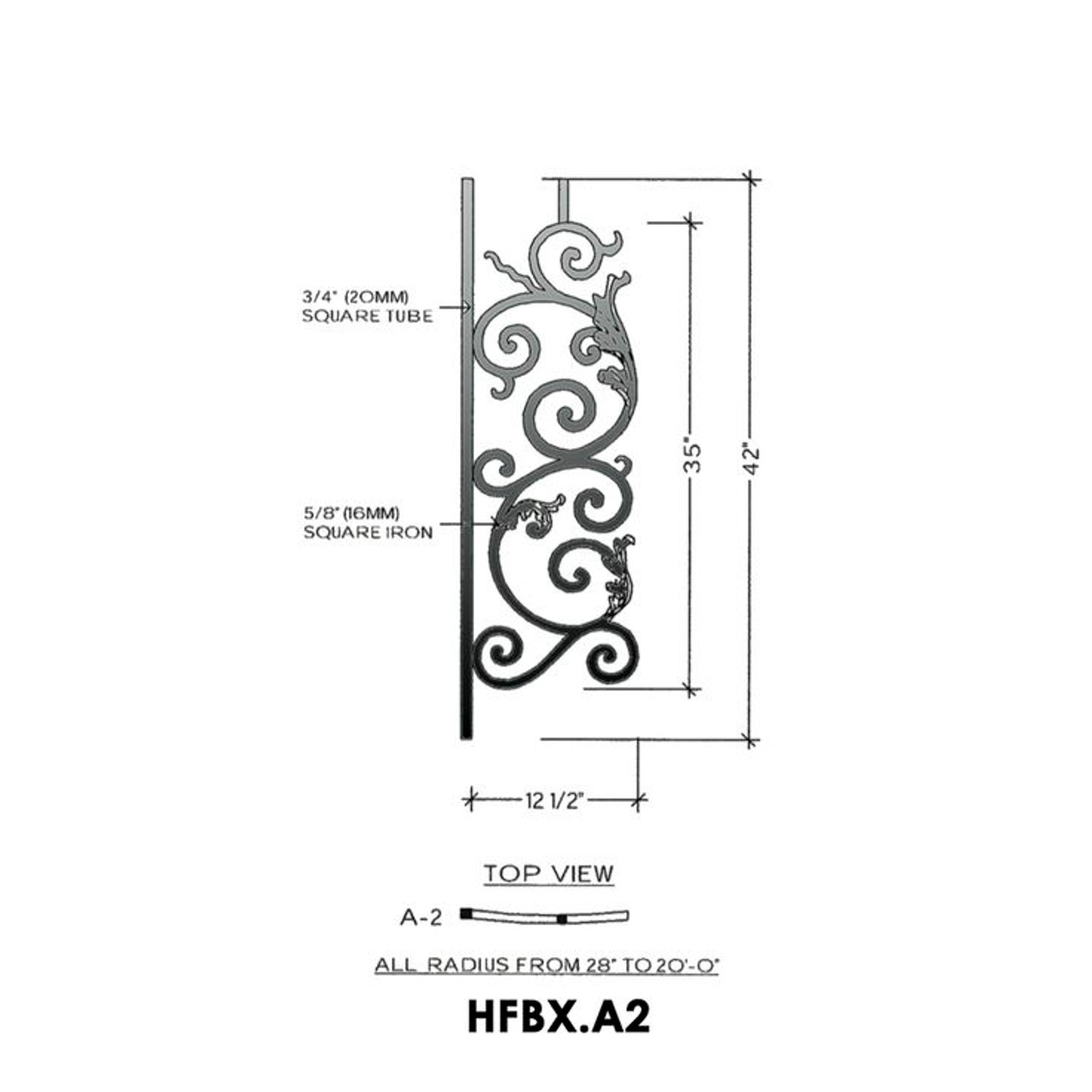 HFBX.A2 Bordeaux Radius Balcony Iron Panel