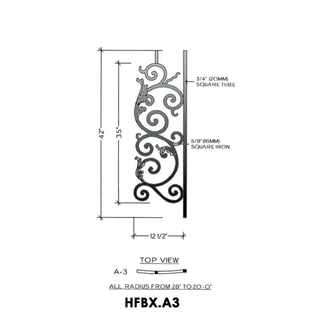 HFBX.A3 Bordeaux Radius Balcony Iron Panel