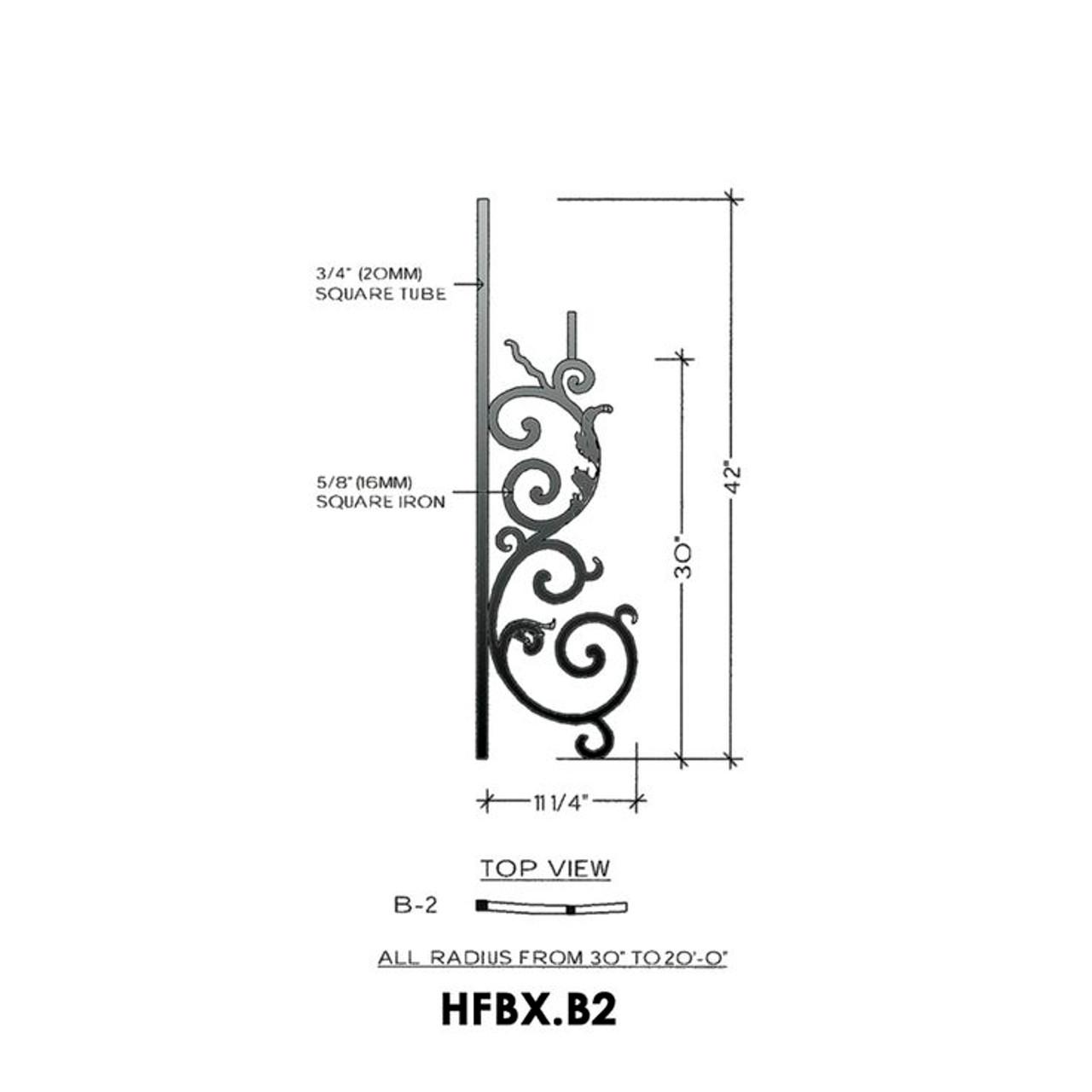 HFBX.B2 Bordeaux Radius Rake Iron Panel