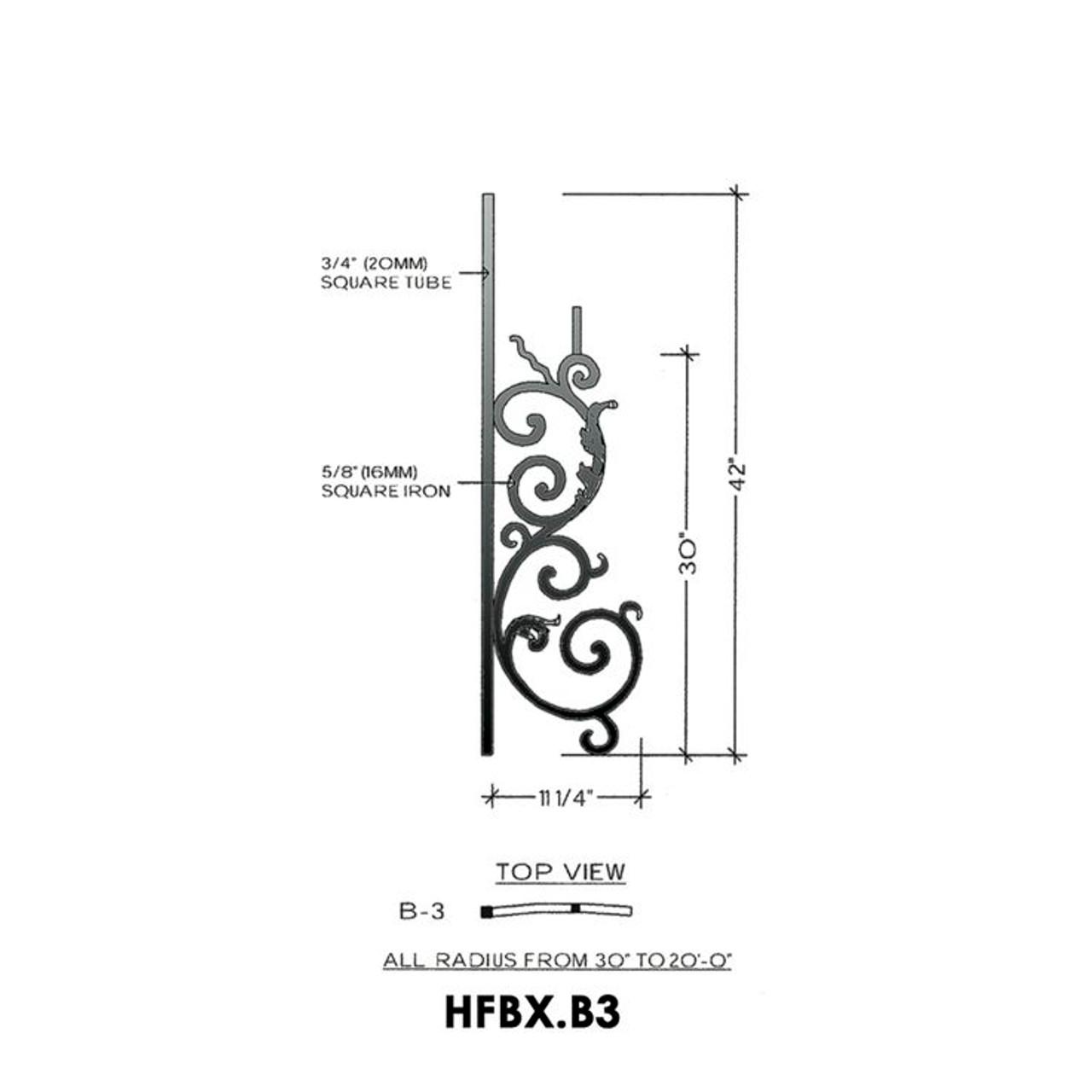 HFBX.B3 Bordeaux Radius Rake Iron Panel