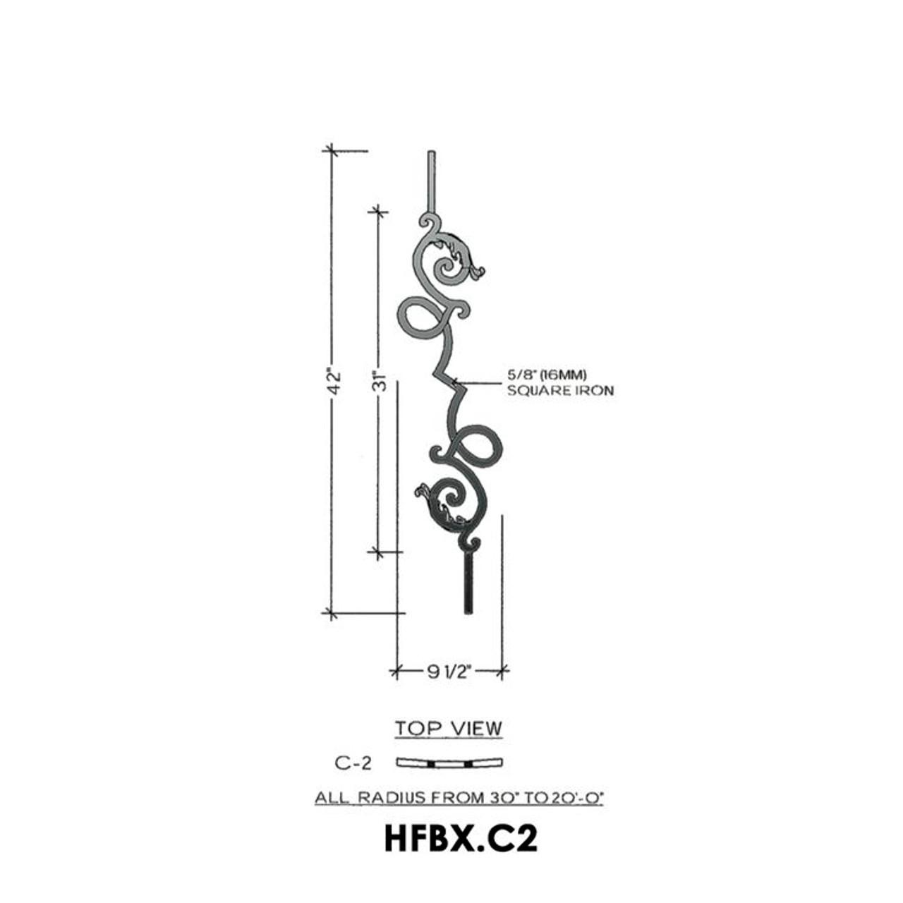 HFBX.C2 Bordeaux Curved Rake Iron Panel