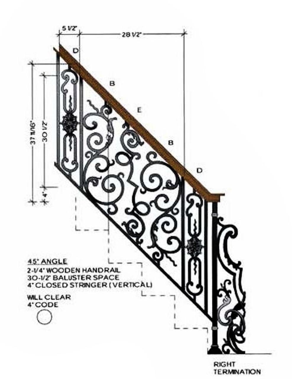 HFBX.E2 Bordeaux Rake Iron Panel in 45-degre angled staircase