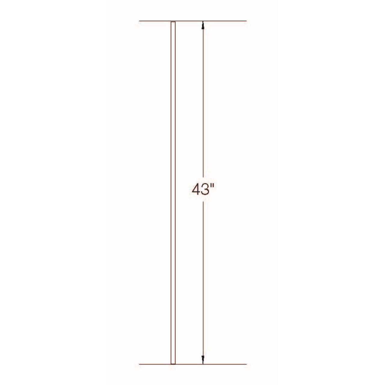 TR01 12mm Round Tubular Steel Tubular Steel Baluster Dimensional Information