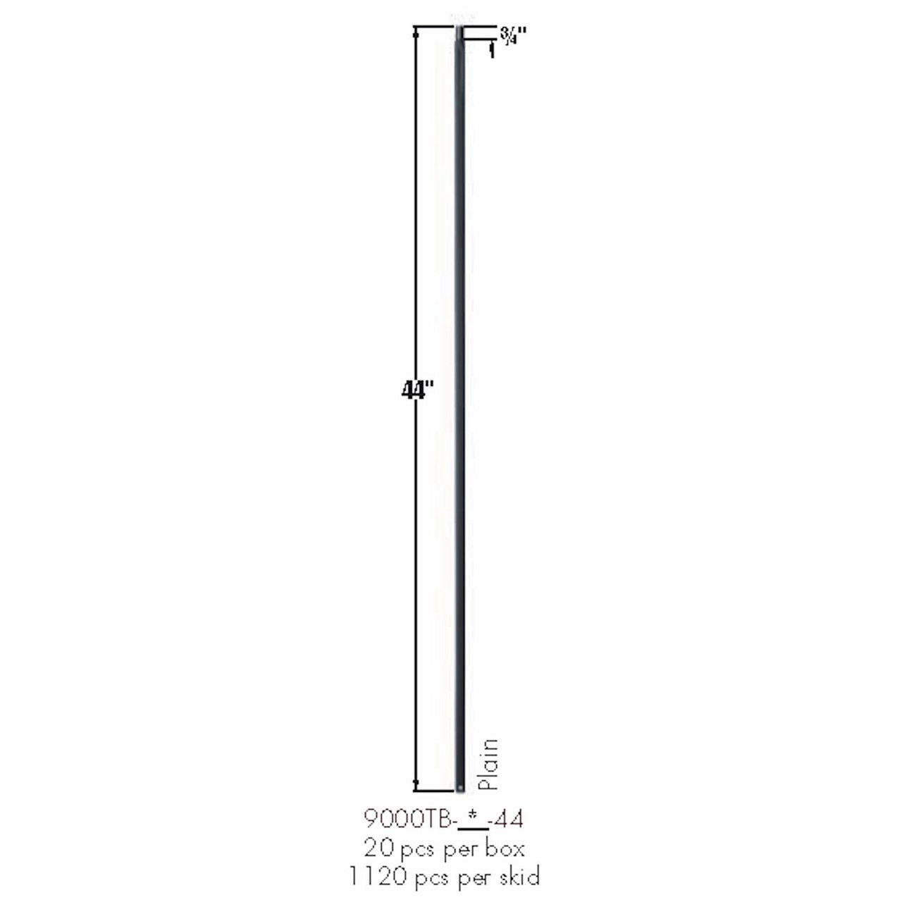 9000TB Plain Square Bar Tubular Steel Dimensional Information