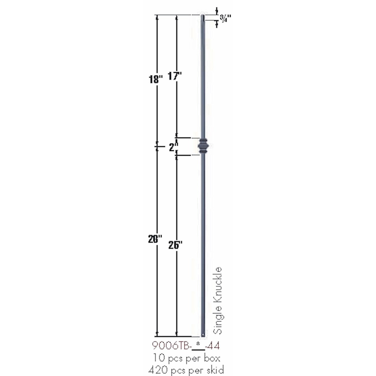 9006TB Single Knuckle Tubular Steel Baluster Dimensional Information