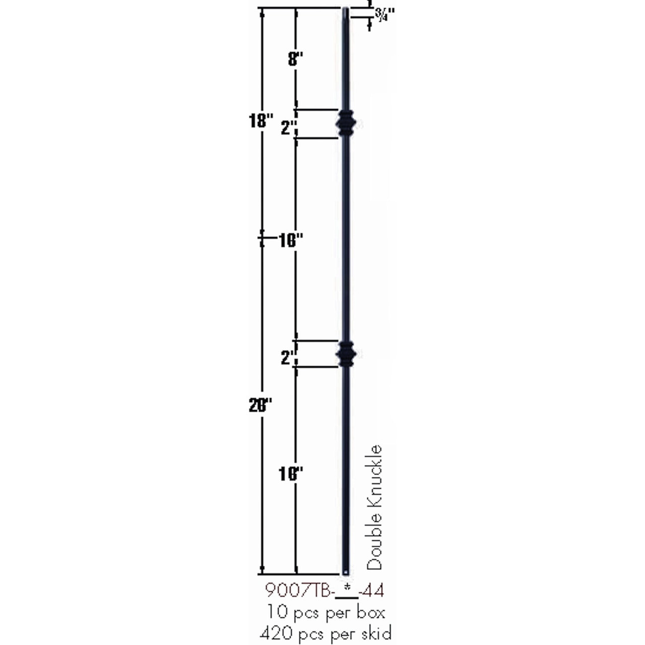 9007TB Double Knuckle Tubular Steel Baluster Dimensional Information